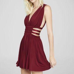 Express Red Grecian Cut Out Mini Dress